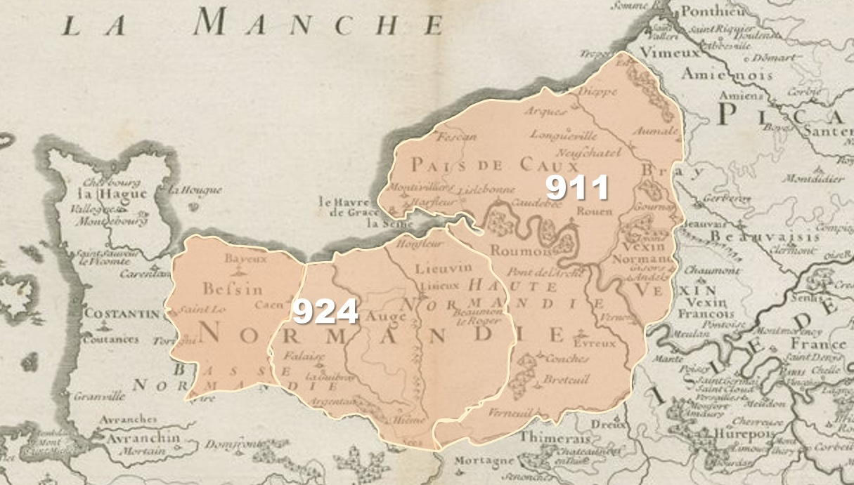 Carte de la Normandie en 924